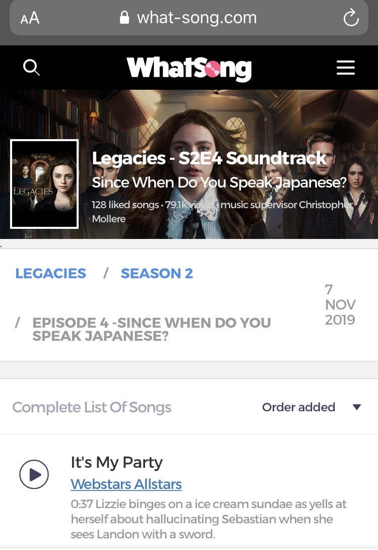 Legacies - S2E4 Since When Do You Speak Japanese - Music and List of Songs